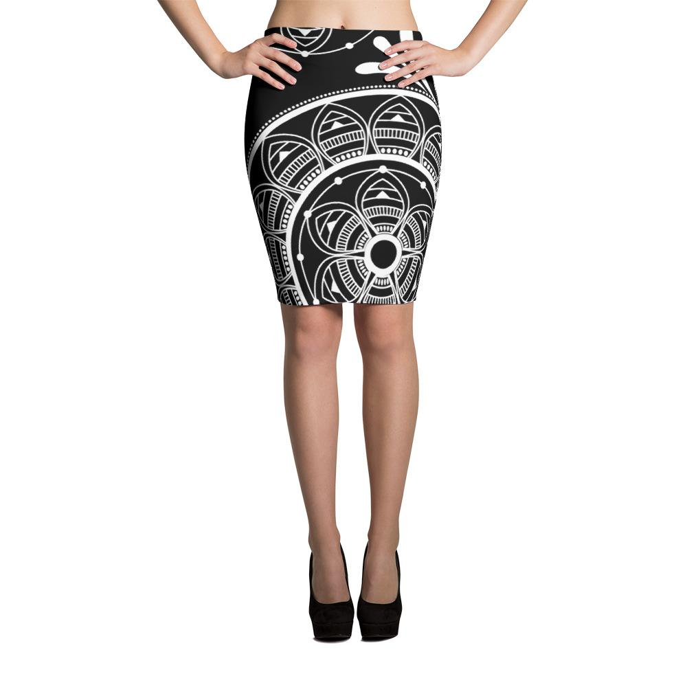 Black Boho Floral Pencil Skirt-famenxt