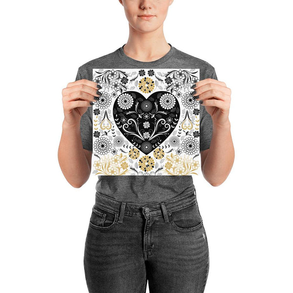 Gold Black Flowers and Heart Poster-famenxt