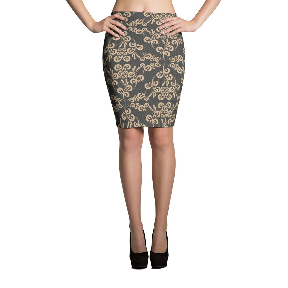 Damask Golden Lace Pattern Pencil Skirt-famenxt