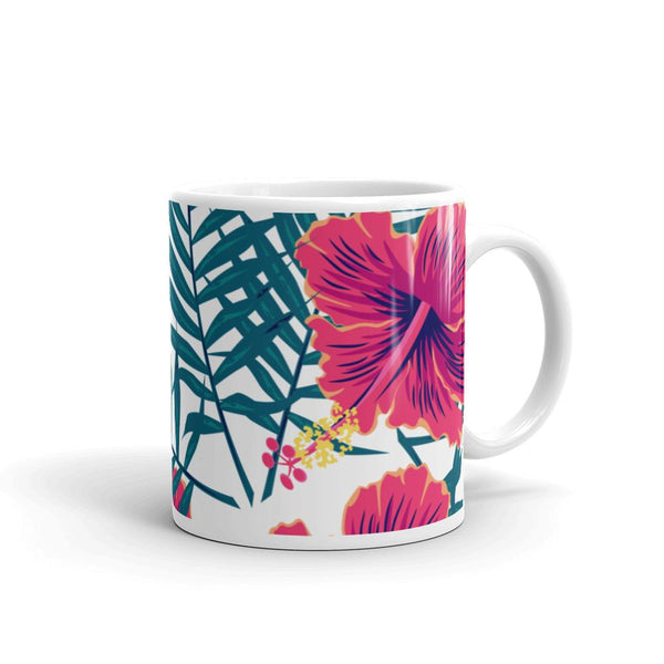 Palm Leaves and Hibiscus Flower Mug-famenxt