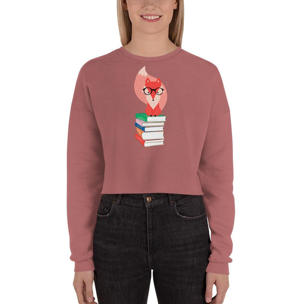 Fox and Books Crop Sweatshirt-famenxt