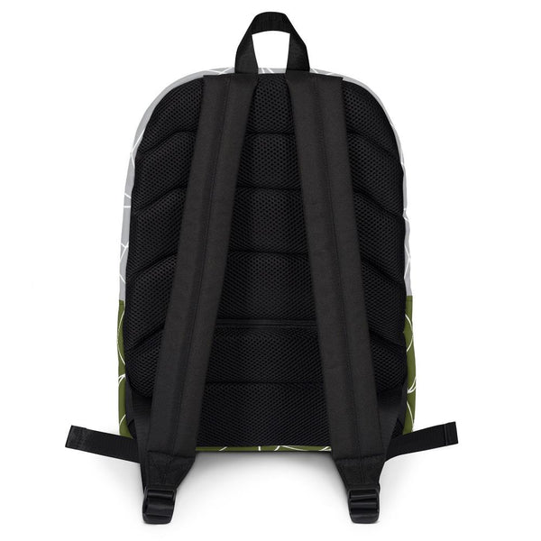 Abstract Military Green Gray Backpack-famenxt
