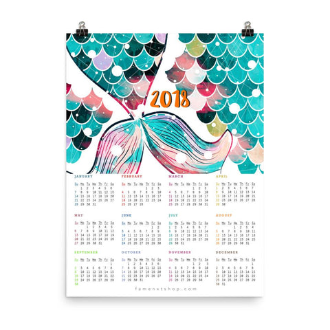 2019/ 2018 Mermaid Tail Teal Poster Calendar-Posters-famenxt