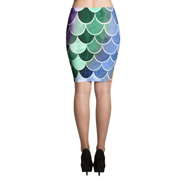 Colorful Mermaid Fish Scales Pencil Skirt-famenxt