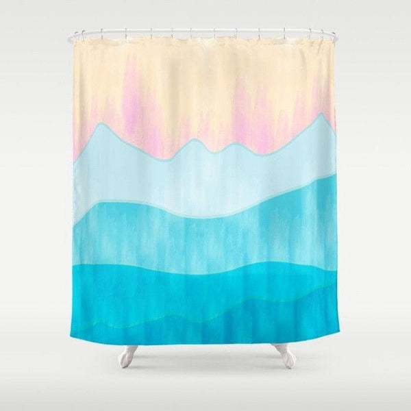 Shades of blue shower curtain, ombre blue shower curtain-Shower Curtain-famenxt