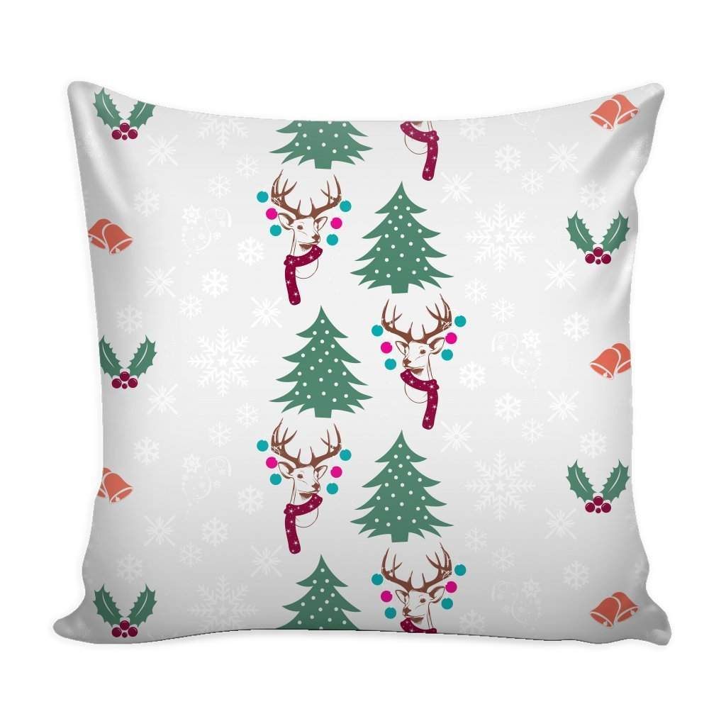 Christmas Pattern Silver Throw Pillow Case with White Back-Pillows-famenxt
