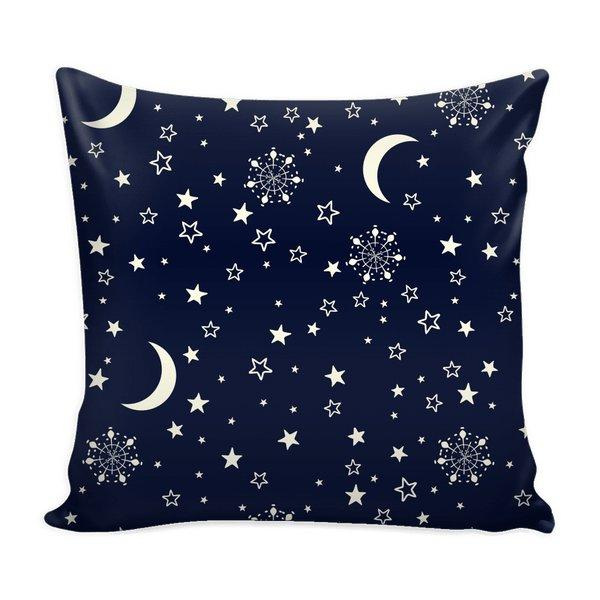 Sun Moon Stars Blue Galaxy Throw Pillow Case-Pillows-famenxt