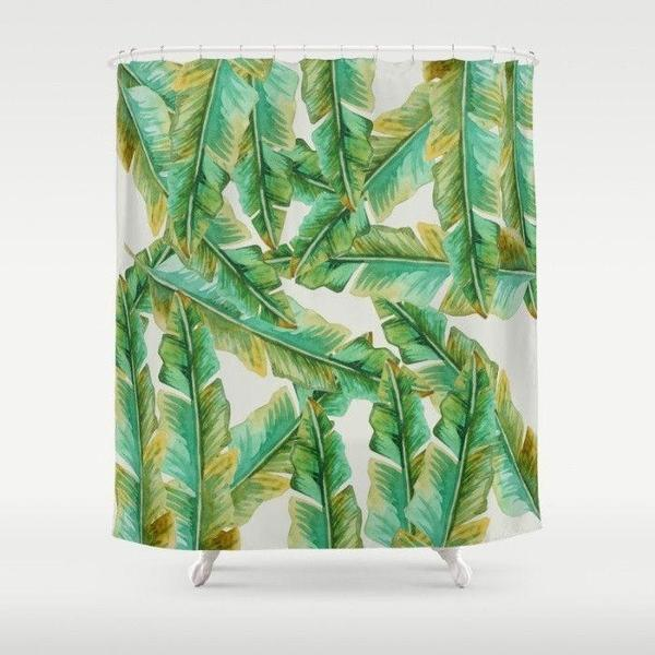 "Tropical banana leaf shower curtain Sizes: 70in x 70in, 70in x 83in, 70in x 90in, 71in x 74in Sizes: 70"" x 70"", 70"" x 83"", 70"" x 90"", 71"" x 74""-Shower Curtain-famenxt"