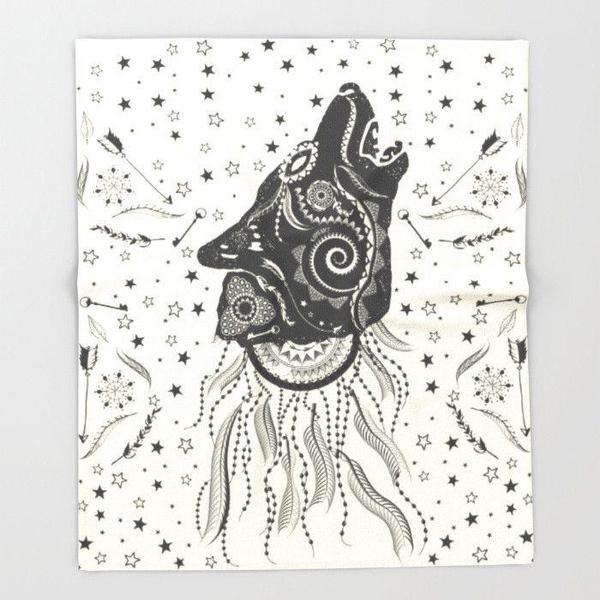 Boho wolf Throw blanket-Throw Blanket-famenxt