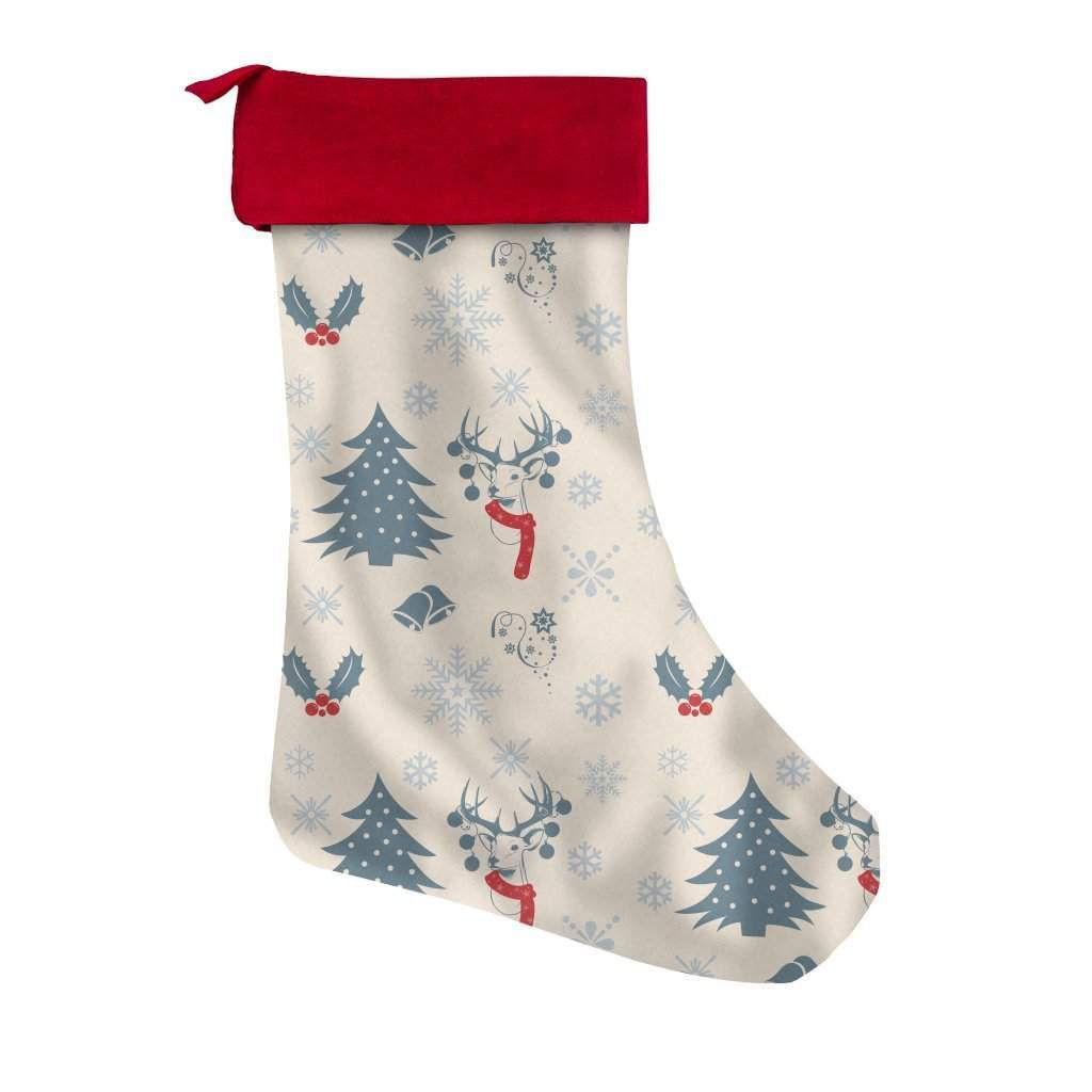 Christmas Tree Deer and Snowflakes Christmas Stocking-Christmas Stockings-famenxt
