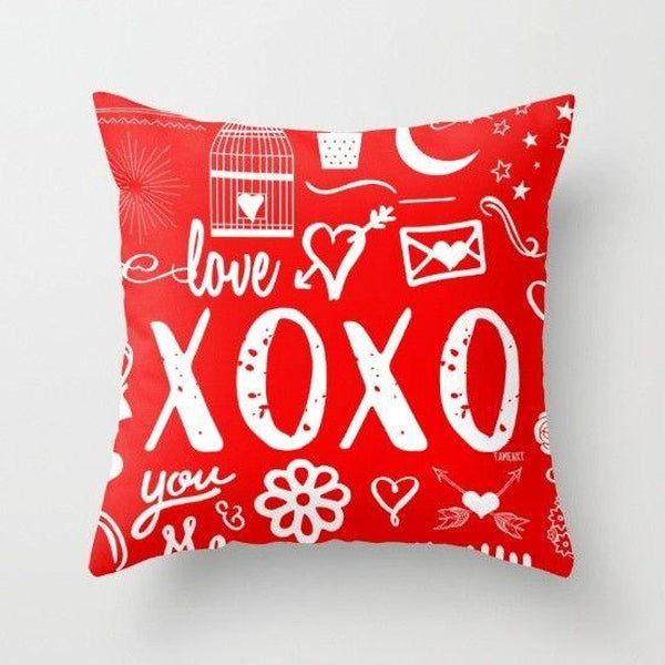 xoxo hugs and kisses throw pillow case-Pillows-famenxt