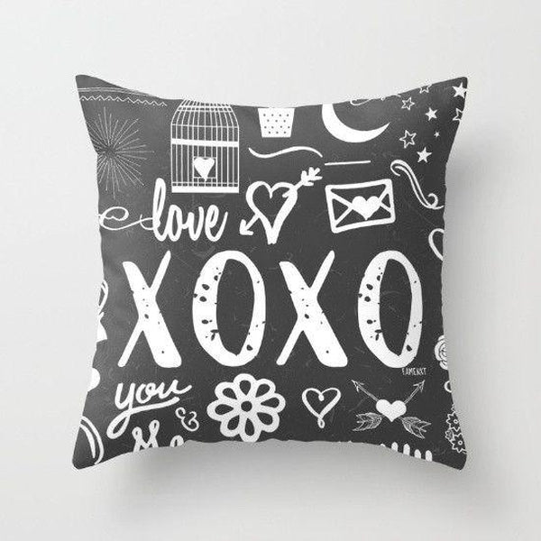 xoxo hugs and kisses black throw pillow case-Pillows-famenxt