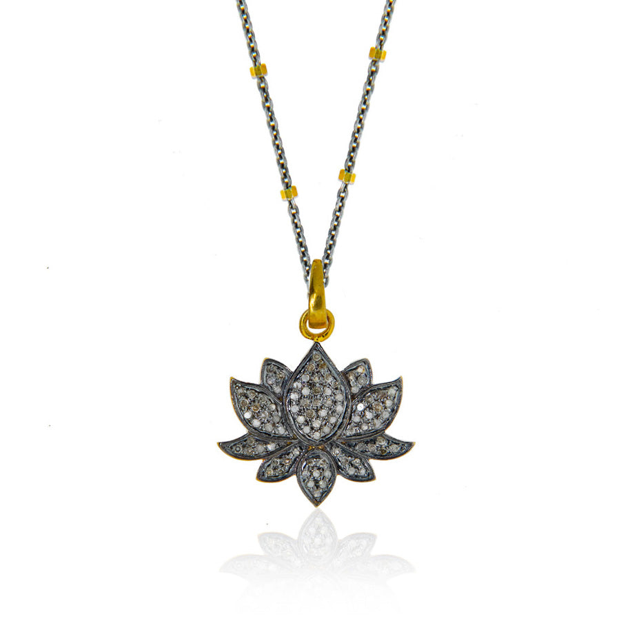 Pave Diamond Lotus Necklace