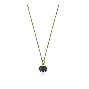 Tiny Pave Diamond Lotus Flower