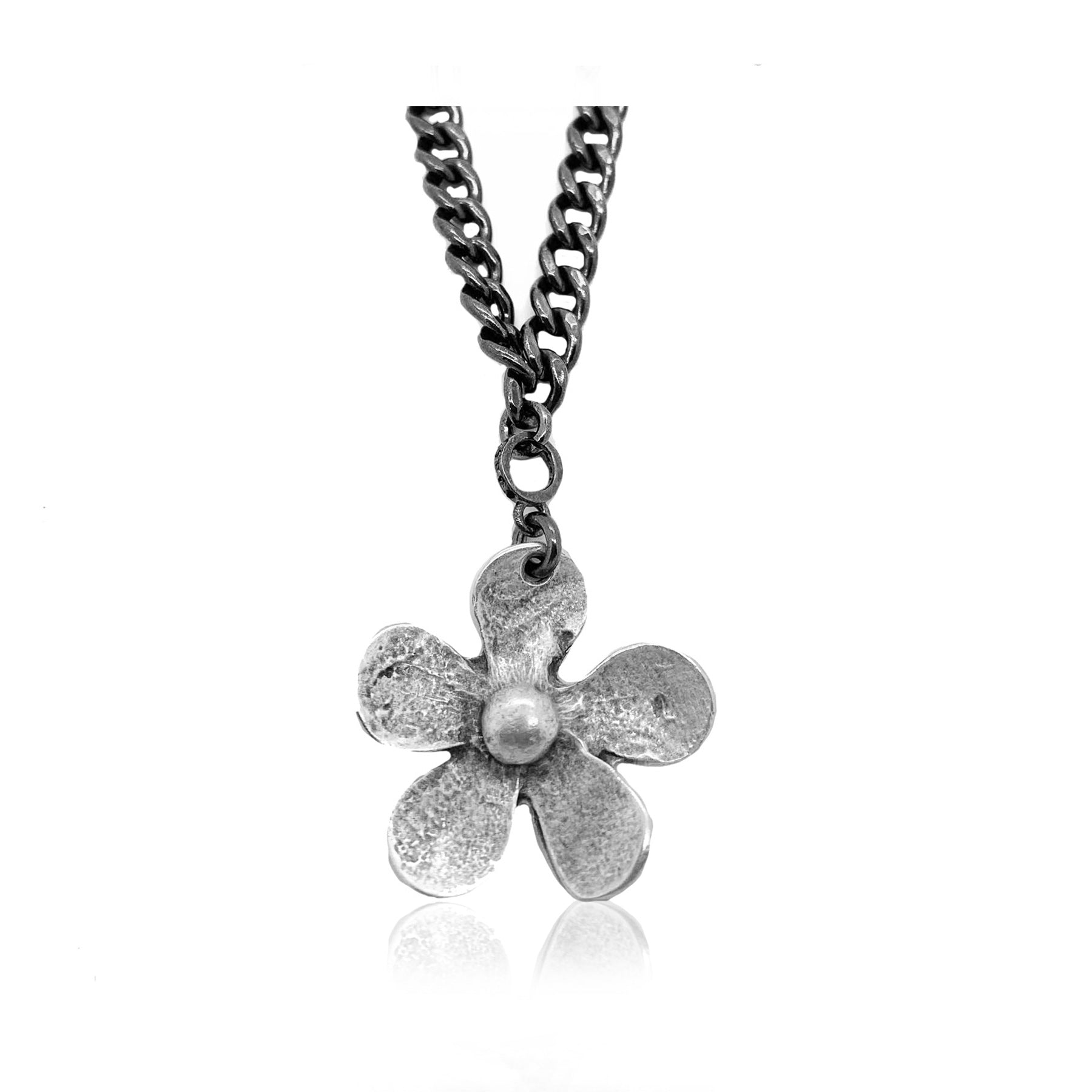 Flower Child Necklace with Chunky Curb Chain