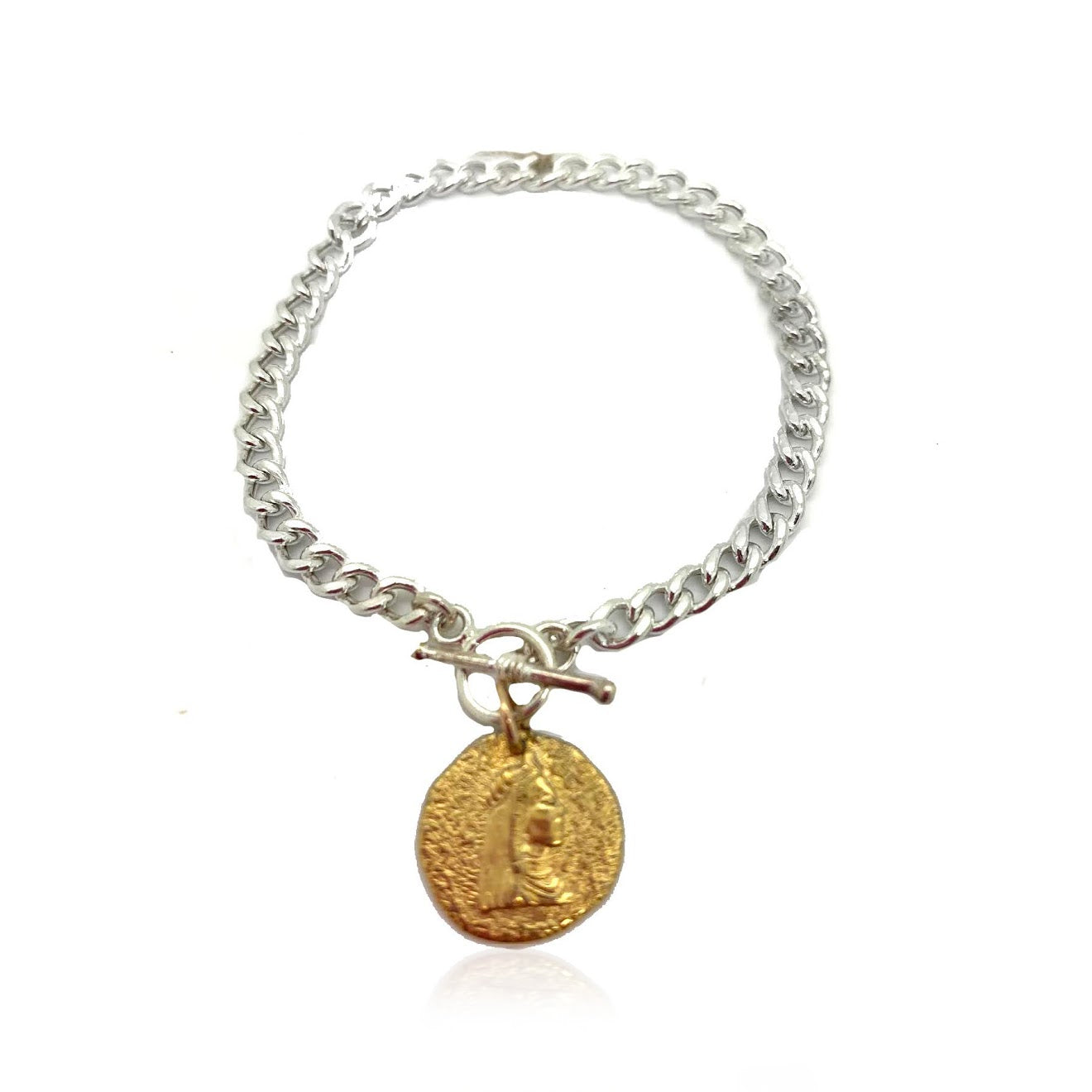 Mixed Metal Coin Charm Bracelet
