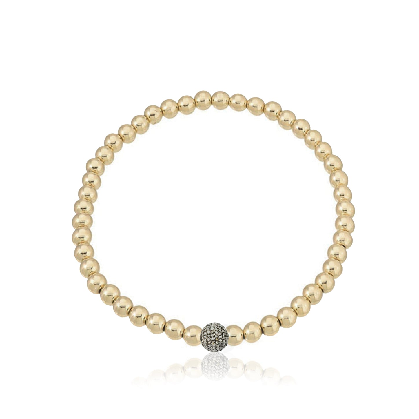 Gold Fill Beaded Bracelet with Diamond Bead