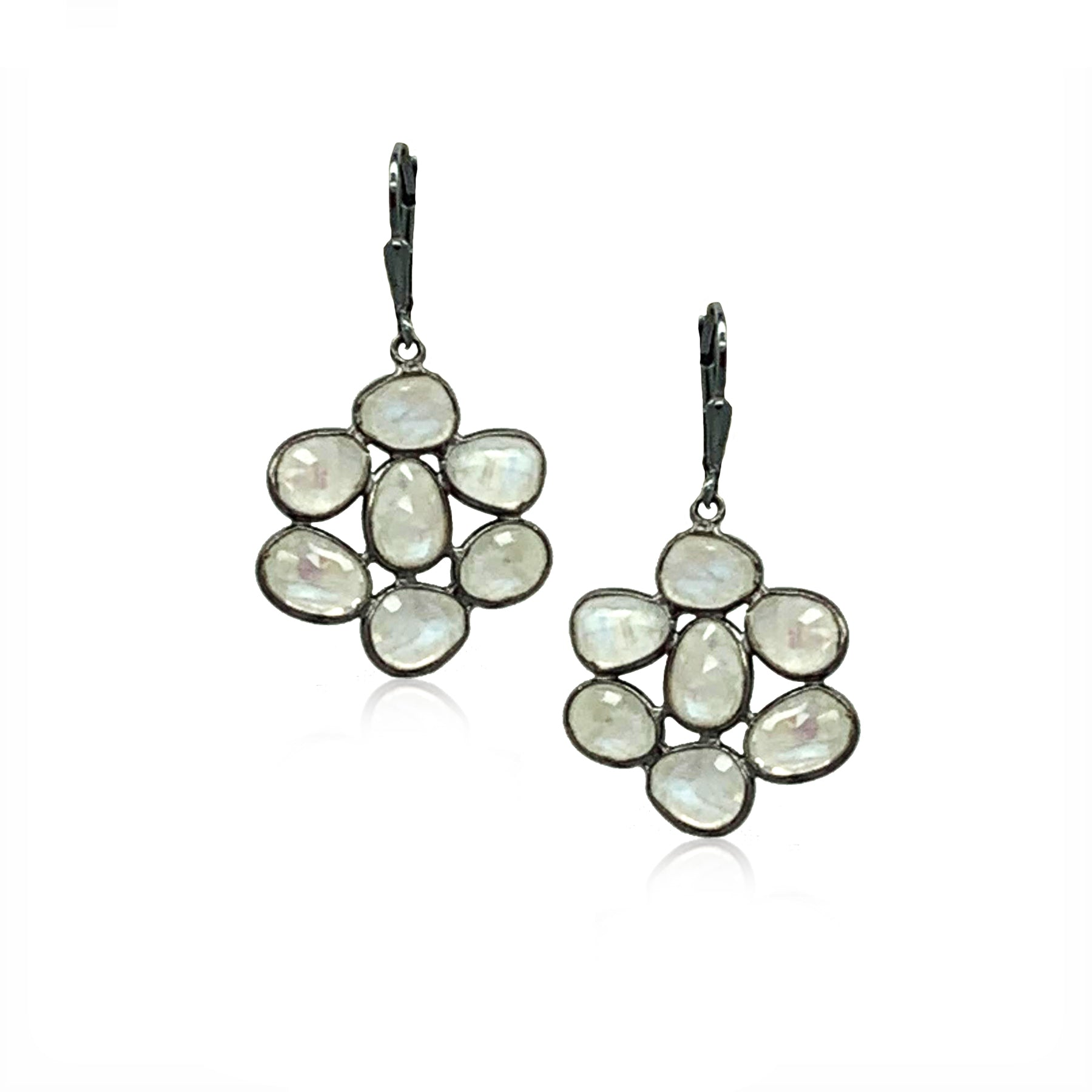 Moonstone Flower Earrings- Gunmetal