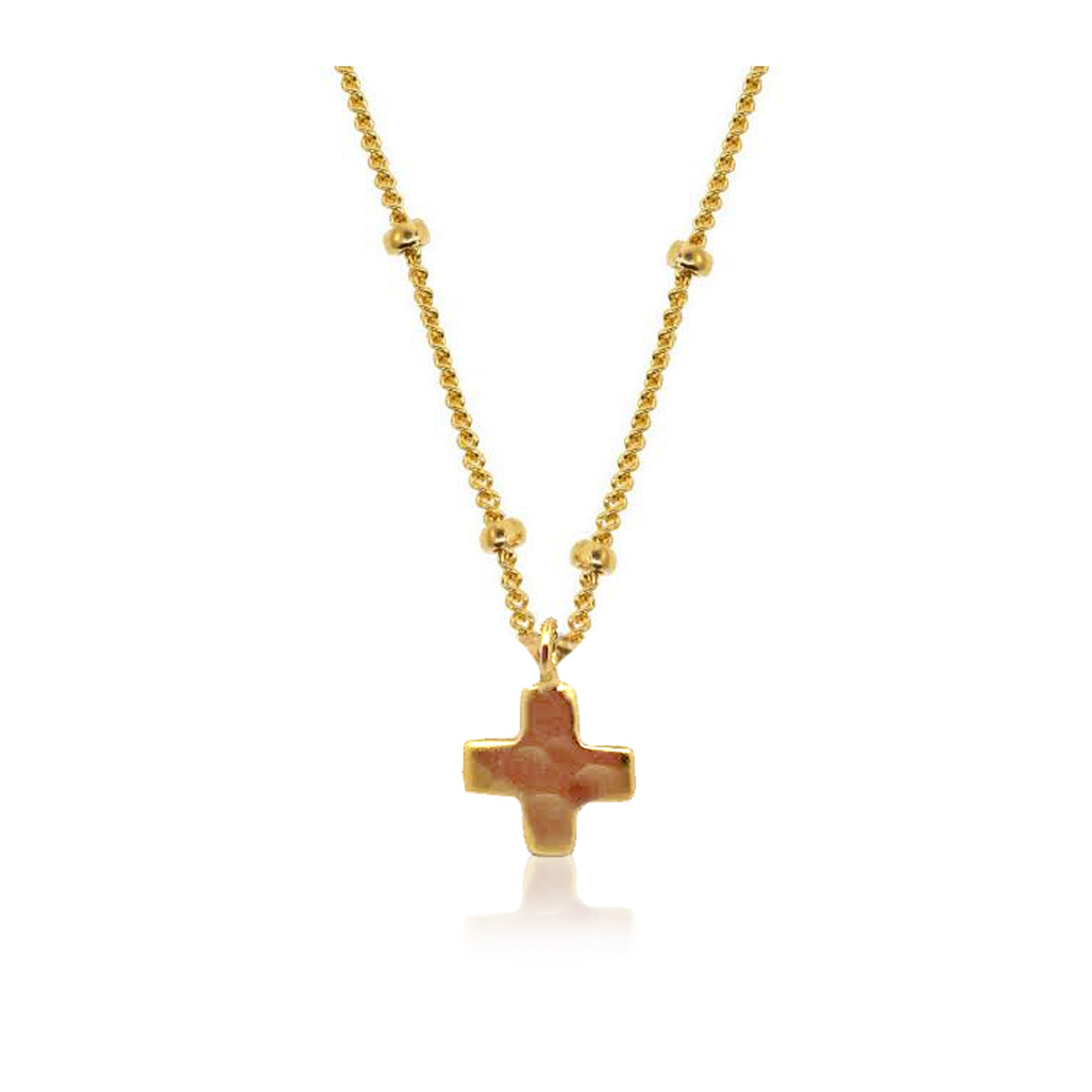 Charms-Modern Hammered Cross Necklace