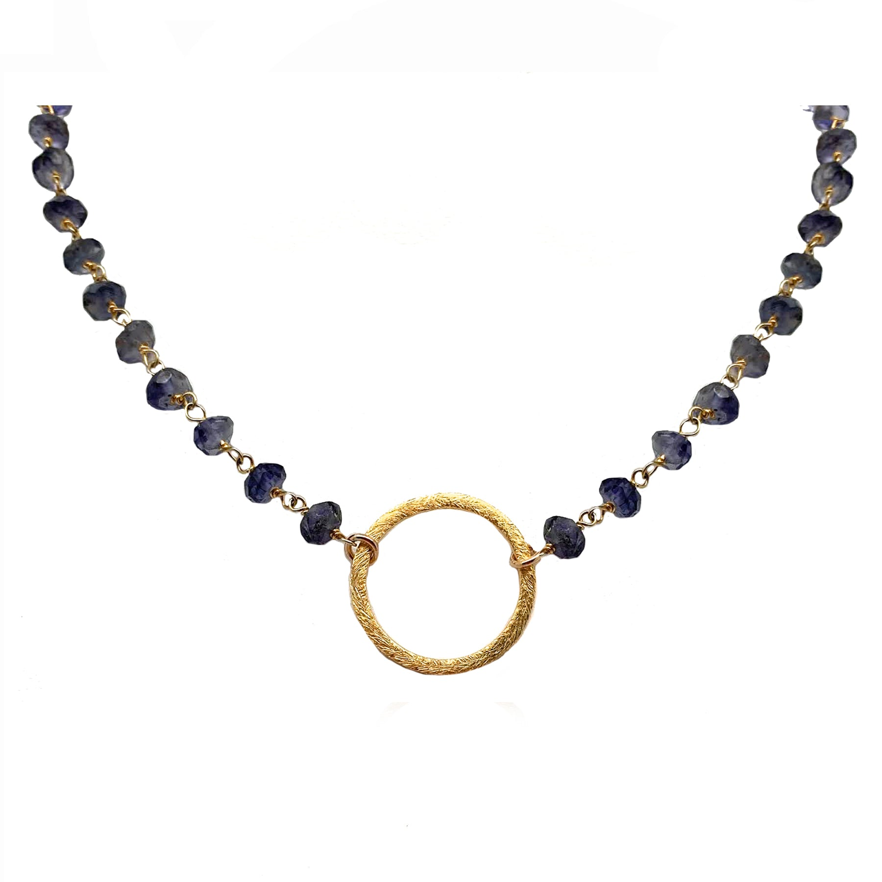 Orbit Necklace Iolite and Gold