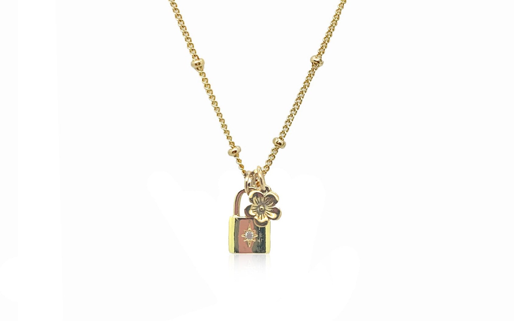 Cherry Blossom Locket Charm Necklace