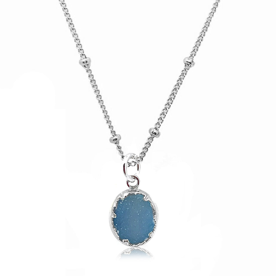 Grit and Grace Necklace-Blue Druzy Silver