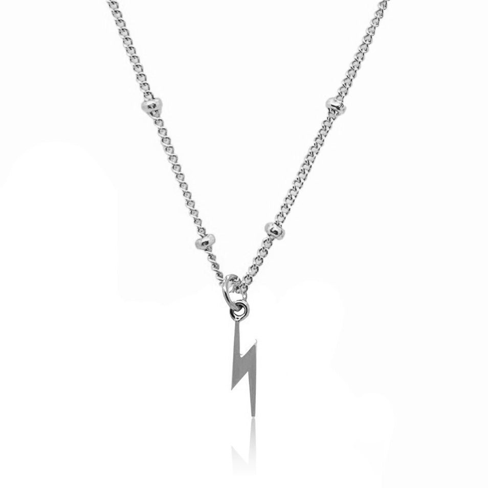 Lightening Bolt Charm Necklace- Silver