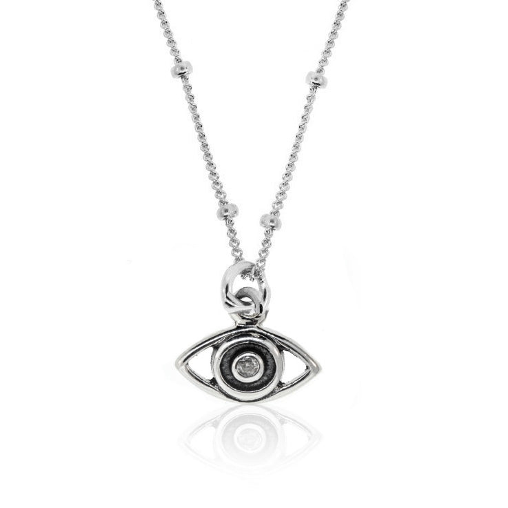 Charm -Protective Eye Necklace With Tiny Diamond