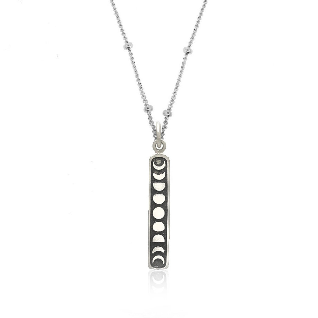 Good Charma- Vertical Moon Phases- Sterling Silver