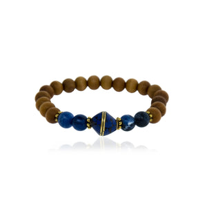 Sodalite, Lapis and Sandalwood Bracelet- Brass