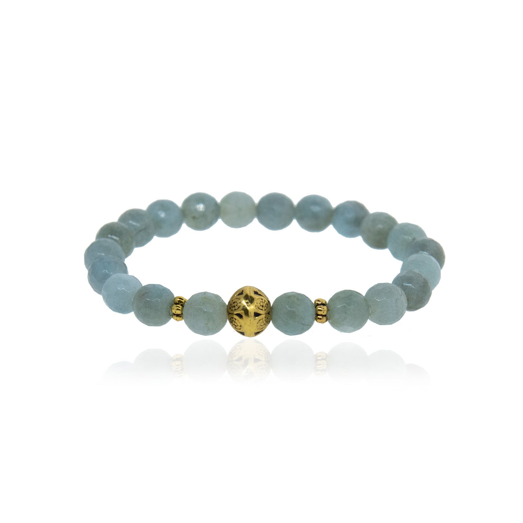 Aquamarine and Brass Ball Bracelet