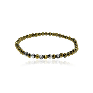 Golden Hematite and Silver Bracelet