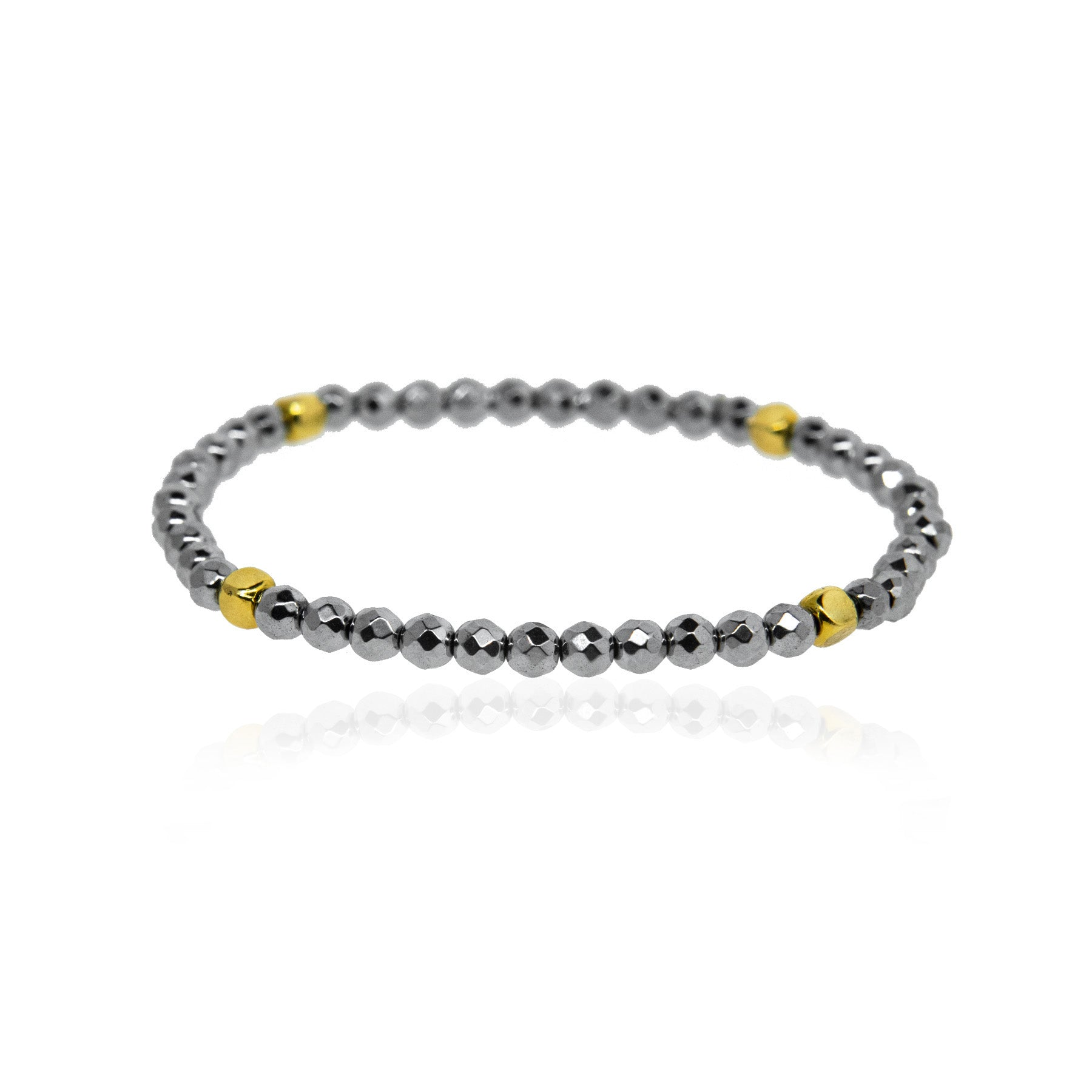 Silver Hematite and Gold Bracelet