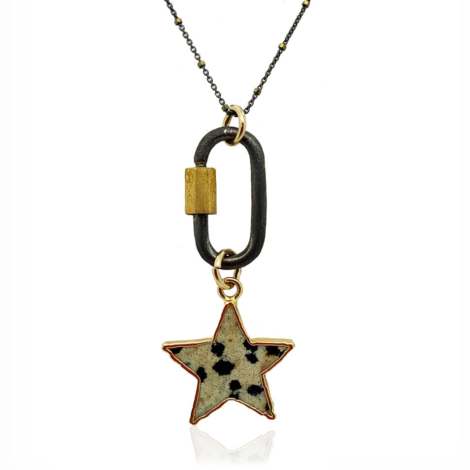 Dalmatian Jasper Star Necklace With  Carabiner Clasp