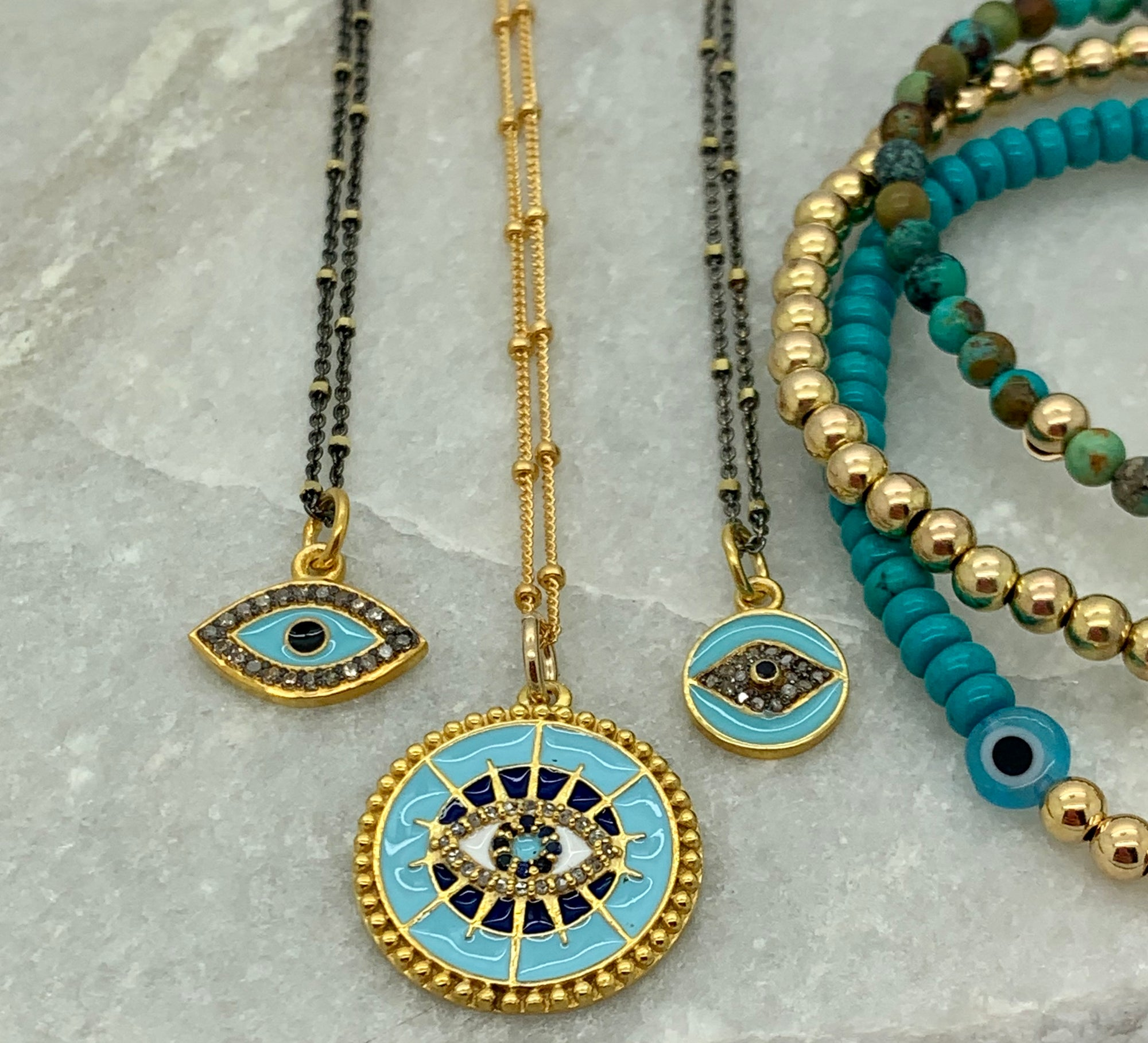 Enamel Eye Necklaces with Pave Diamonds