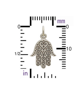 Good Charma Hamsa with Etched Swirl Pattern-Sterling Silver
