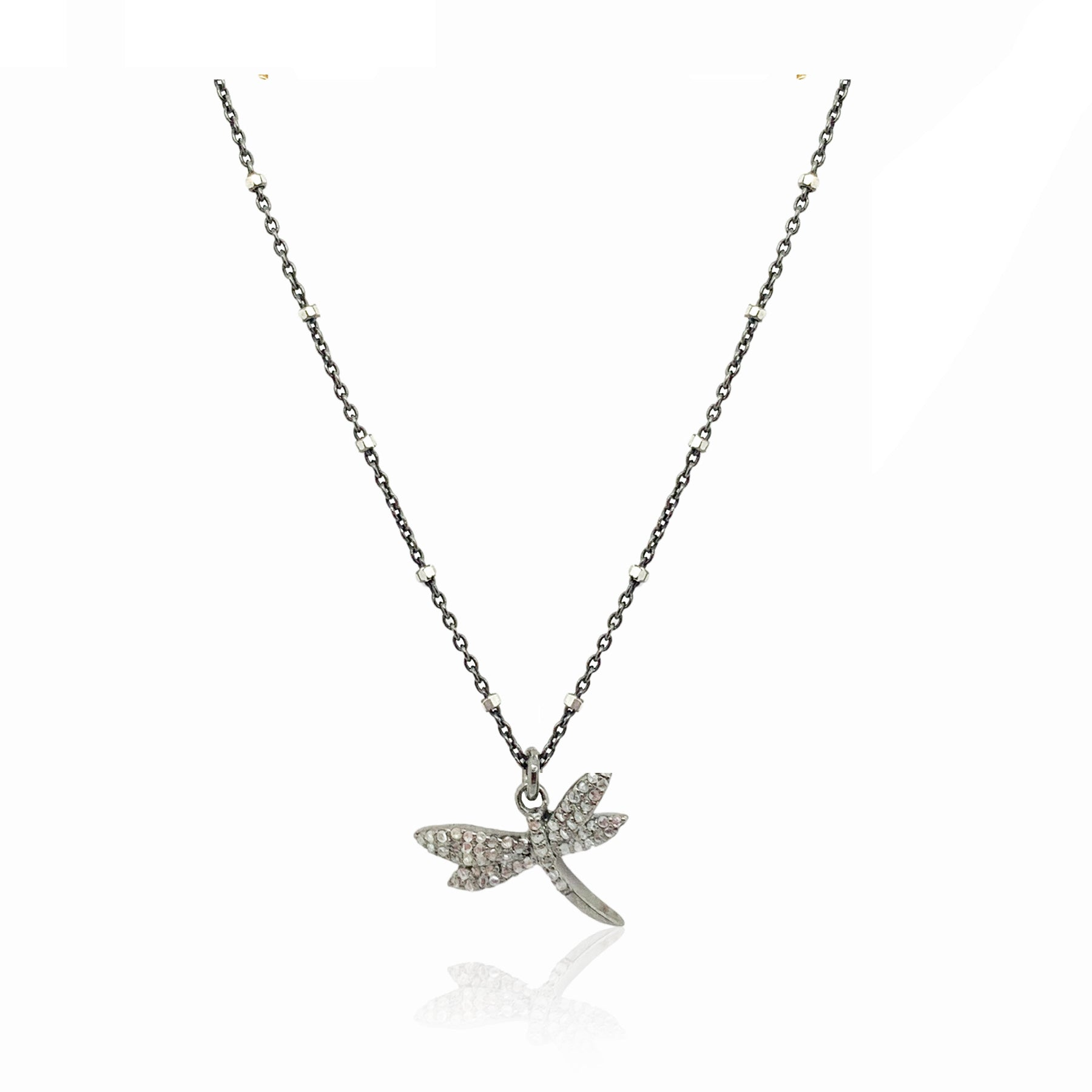 Mini Diamond Dragonfly Necklace- Silver
