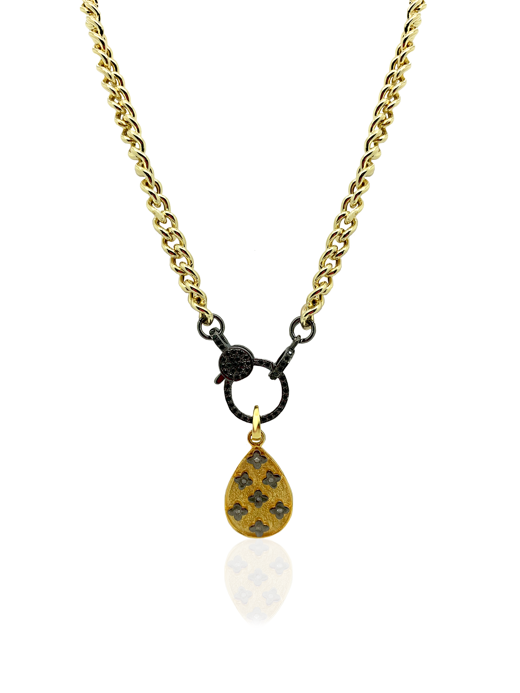 Gold Curb Chain with Spinel Clasp and Teardrop Pendent with Diamonds