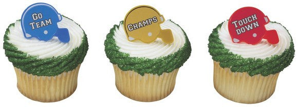 Football Helmets Cupcake Rings
