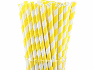 Yellow & White Striped Paper Straws