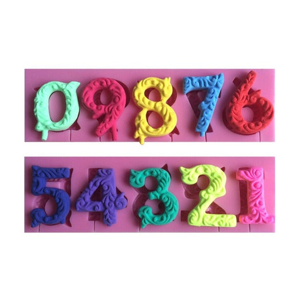 Embossed Numbers Silicone Mold