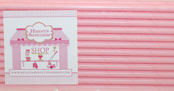 Solid Pastel Pink Paper Straws
