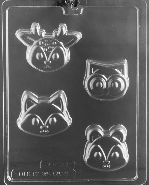 WOODLAND ANIMAL FACES COOKIE Chocolate Mold