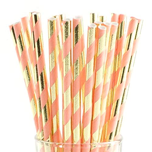 Coral and Gold Foil Striped Paper Straws