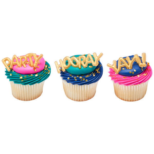 GOLD BALON WORDS Toppers 12 Pack