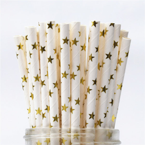 Paper Straws - White with Gold Foil Stars
