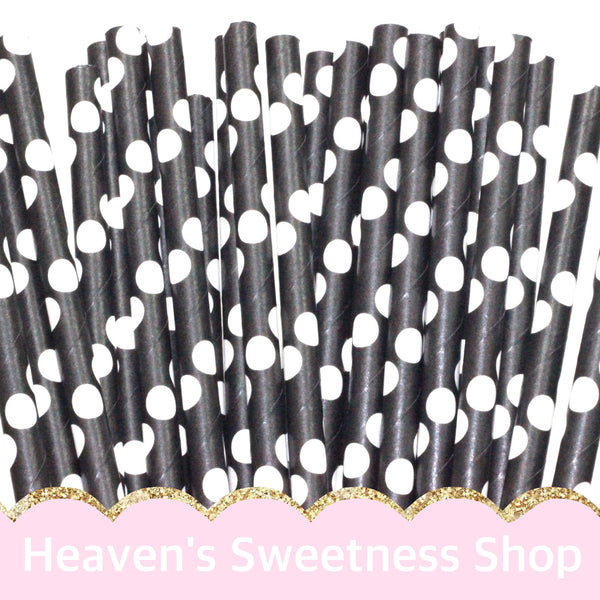 Black W/ White Polka Dots Paper Straws