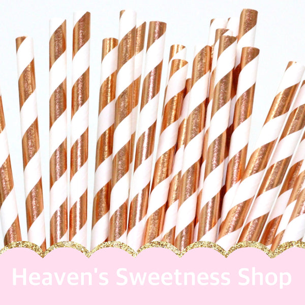 Paper Straws - Rose Gold/White Foil Striped 25PK