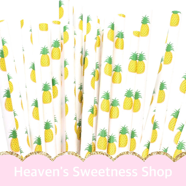 Paper Straws - Tropical Pineapple 25PK