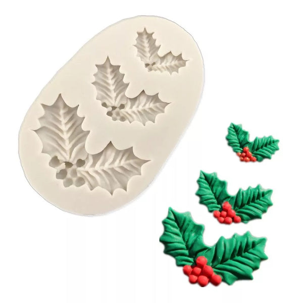 HOLLY LEAVES TRIO Silicone Mold